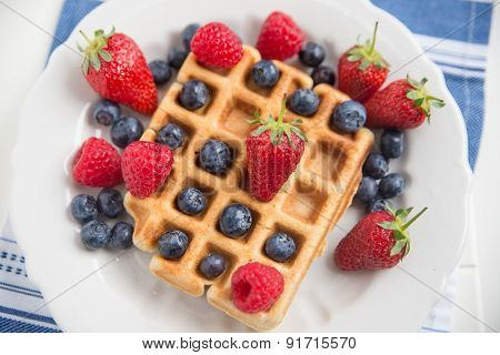 Fresh Waffles with berries on a plate