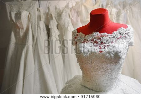 Wedding Dress On Red Mannequin