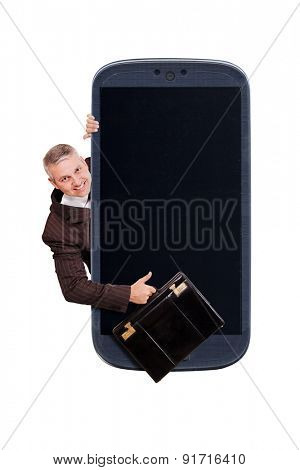 Smartphone and a Brazilian business man with a briefcase and thumbs up. Idea for carrier business, smartphone business apps, digital detox, great apps, accessing apps, Internet, blogs and others