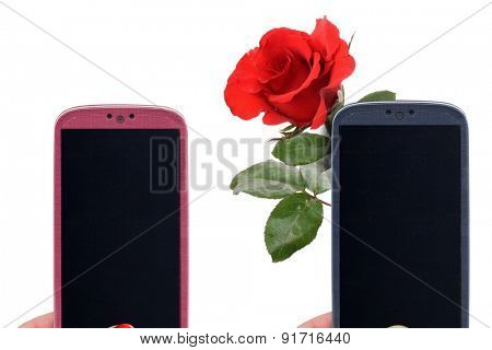 Smatrphone pink and blue and a rose. Idea for virtual messages for celebrating Valentine's Day, Mother's Day, Datings, great apps, accessing apps, Internet, blogs and others.