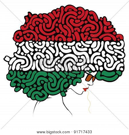 colorful hair a flag of Italy