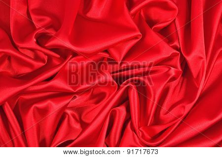 Background From A Red Satin Fabric