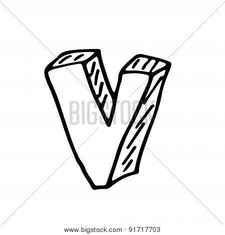 English Alphabet - Hand Drawn Letter V