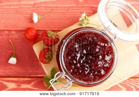 Traditional Strawberry Jam Made At Home With A Prescription.