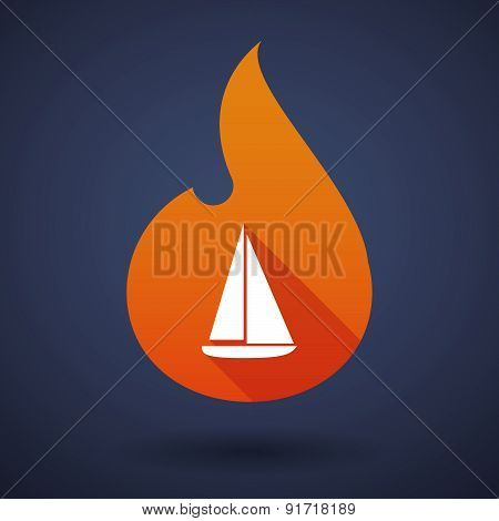 Flame Icon With A Ship