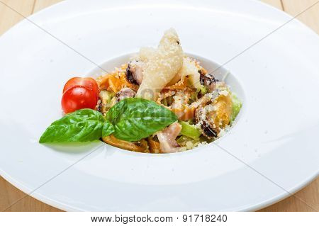 Traditional Italian Seafood Pasta With Calamari And Mussel