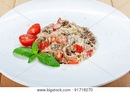 Traditional Italian Pasta With Mushrooms