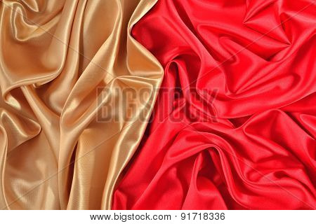 Background From Golden And  Red Satin Fabric