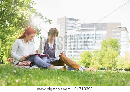 Full length of young male and female friends studying at college campus