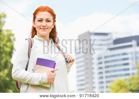 Portrait of beautiful college student at campus
