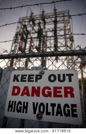 Keep Out Danger High Voltage Sign