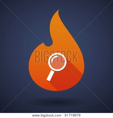 Flame Icon With A Magnifier