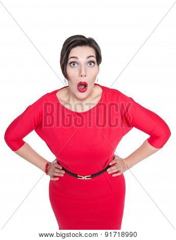 Surprised Plus Size Woman Looking On You Isolated. Top View