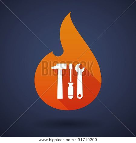 Flame Icon With A Tool Set