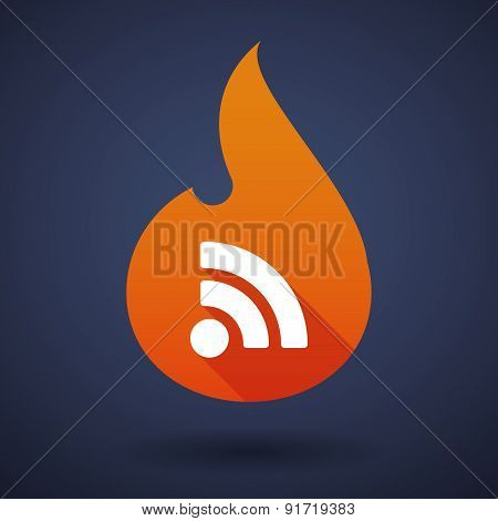 Flame Icon With A Rss Sign