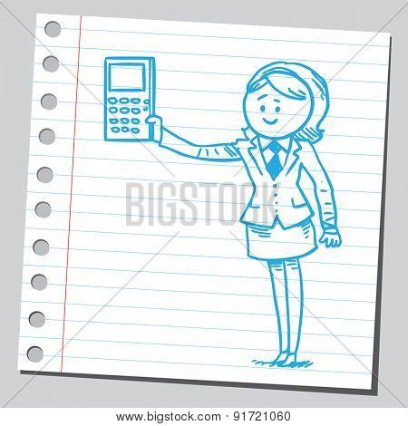 Businesswoman holding calculator