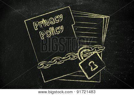 Privacy Policy Documents: Illustration With Chained Folder And Pages