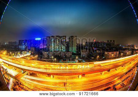 Night city view of China