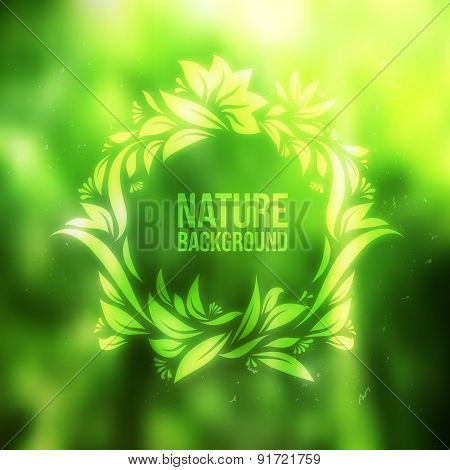 Abstract Forest With Drawing Floral Frame Vector Background