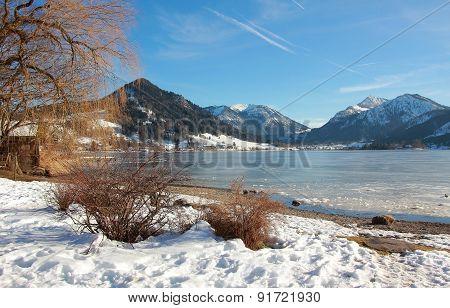 Idyllic Schliersee Lake In Upper Bavaria, Winter Landscape