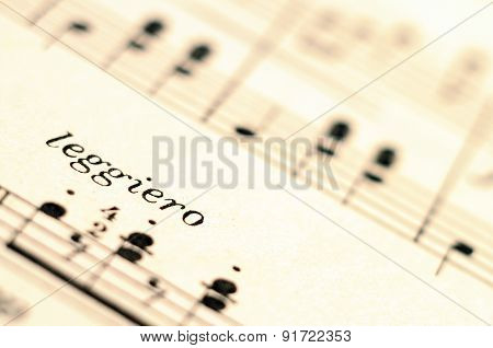 Close up of music score