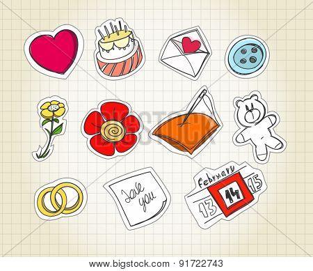 Set of love symbols on paper. Raster version