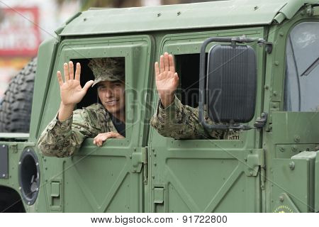 Us Military Waving To The People