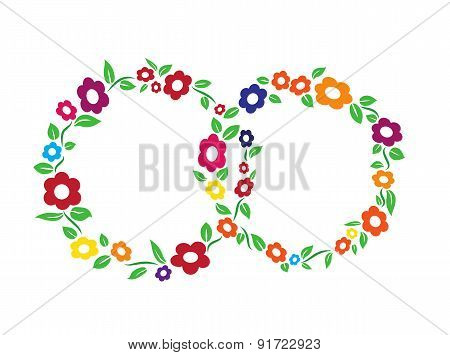 Colored vintage Flower ring frame decoration vector illustration
