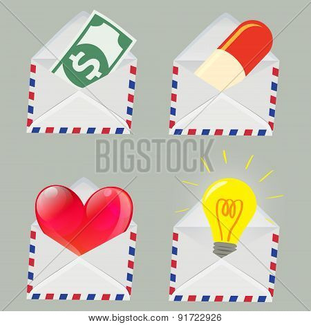 Set Of White Envelope With Money,pill,red Heart And Light Bulb Inside