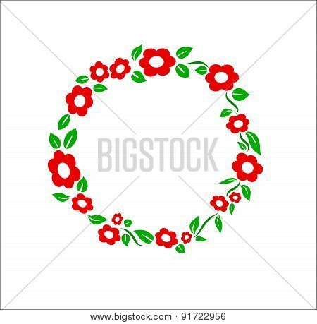 Retro red Flower ring frame decoration vector illustration