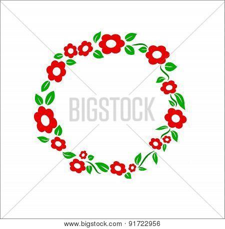 Retro red Flower ring frame decoration vector illustration