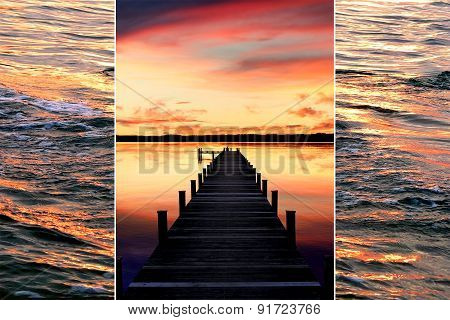 Collage - Sunset Scenery At The Lake