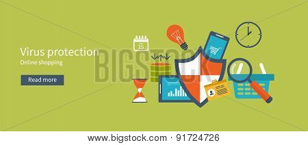 Set of flat design vector illustration concepts for data protection and internet security.