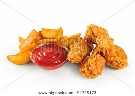 Fried Chicken Wings Potatoes And Ketchup