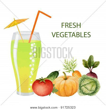 Vegetables Drink In Glasses