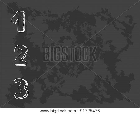 1, 2, 3 vector numbers on black chalkboard background