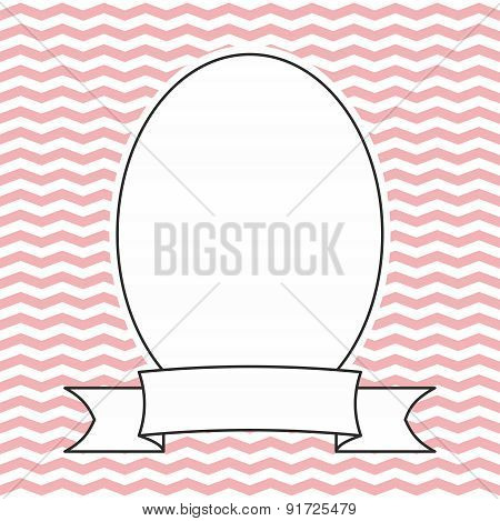 Vector frame on pink and white zig zag background