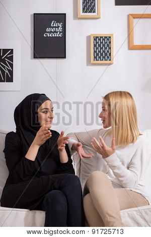 Lady Friends Talking Together
