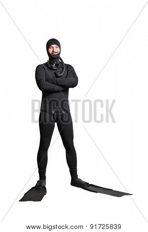 full length portrait of smiley underwater diver in equipment. isolated on white background