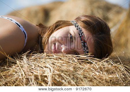 Girl On Hay