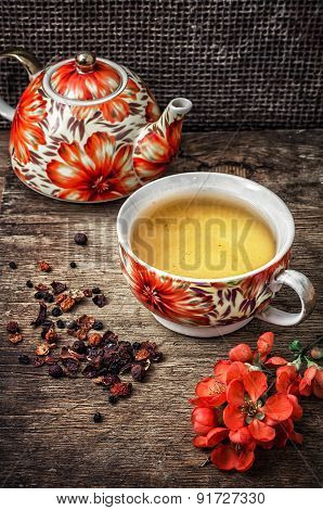 Porcelain Cup Of Fragrant Tea For Medicinal Herbs