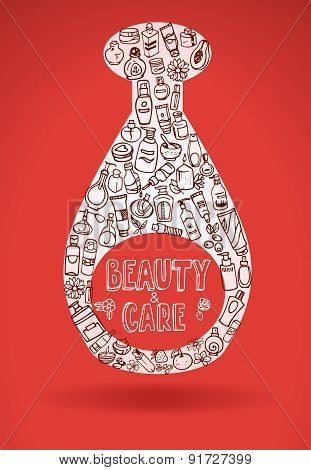 Doodle Cosmetic Products Background