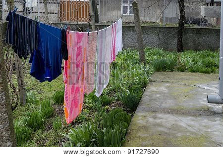 Washing hang  out on the clothes-line