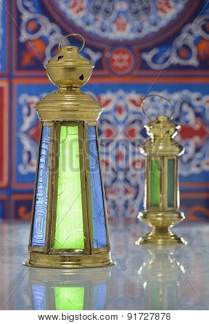 Shiny Lanterns Over Ramadan Fabric