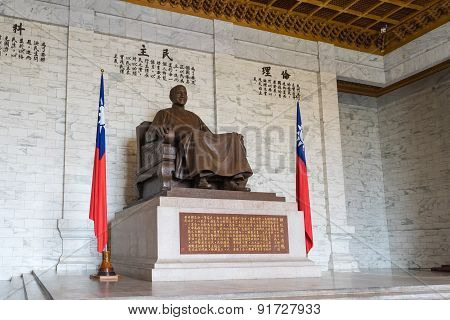 The bronze statue of Chiang Kai-shek in Taipei, Taiwan.