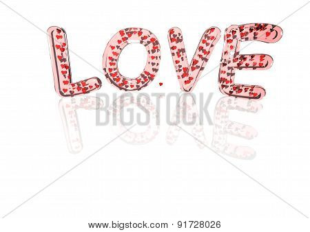 Word Love Made From Hearts Symbols.