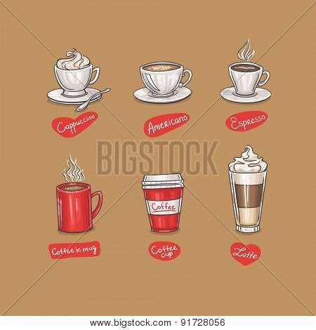 Simple doodle coffee design with labels. Vector illustration.