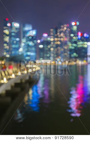 Blur City lights of Singapore city