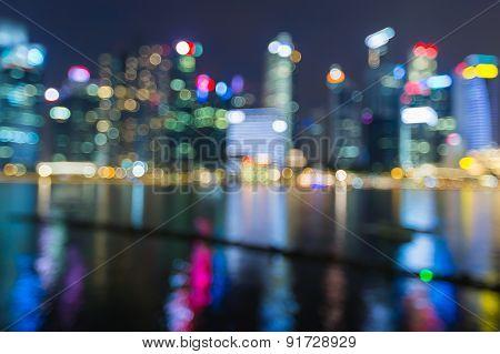 City lights night view blur bokeh photo