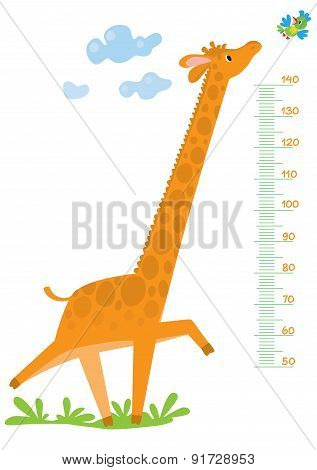 Meter wall with giraffe and bird
